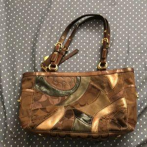 Medium brown patchwork coach purse